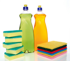 Cleaning products including sponges and bottles of detergent